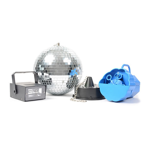Disco Set IV Bubble Machine, LED Strobe and Mirror Ball with Motor