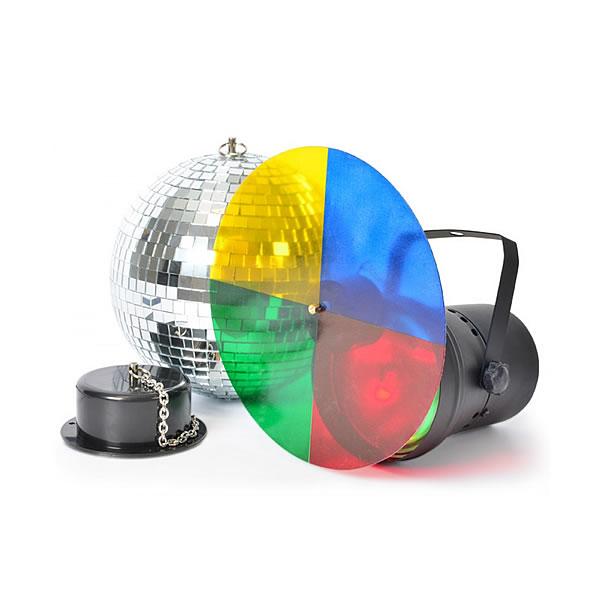 Disco light set with 20cm mirrorball