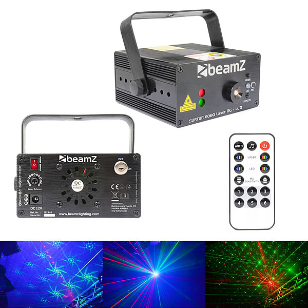 Surtur Red Green Gobo Laser with LED + Remote