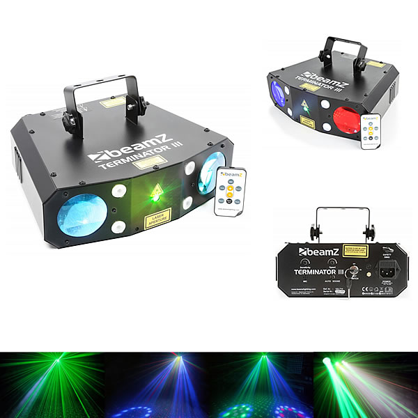 Terminator III LED double moon with laser and strobe