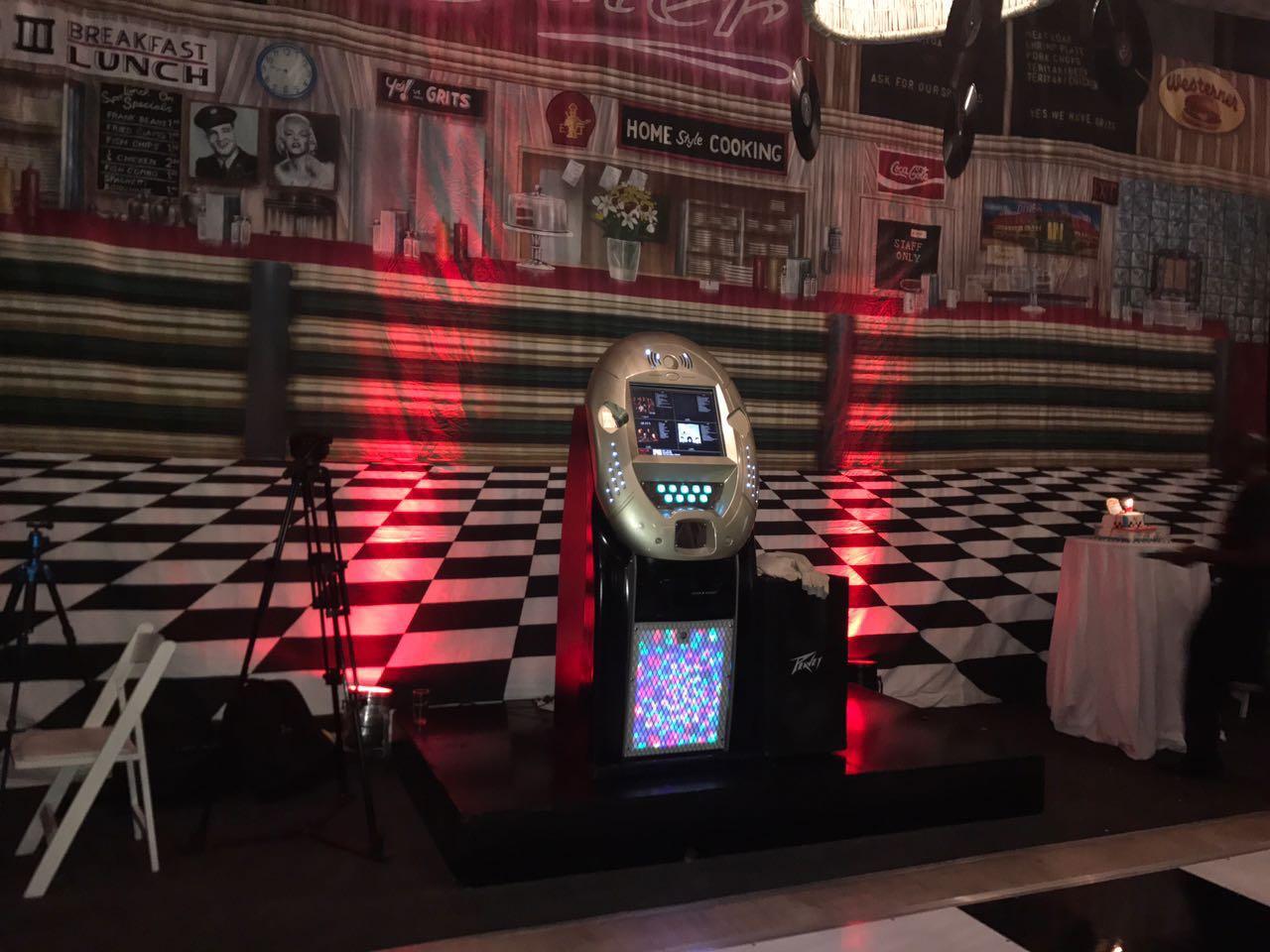 large disco backdrop